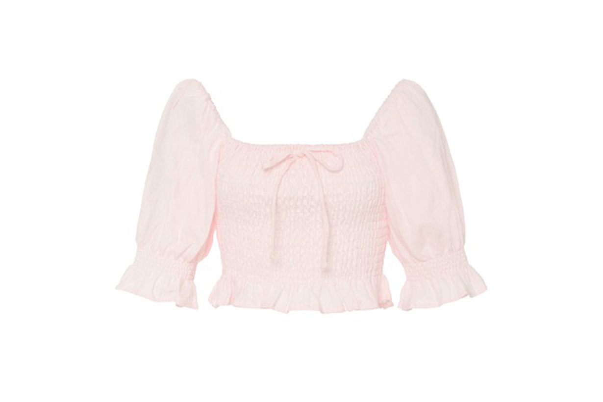 Faithfull The Brand Lenora Smocked Linen Top