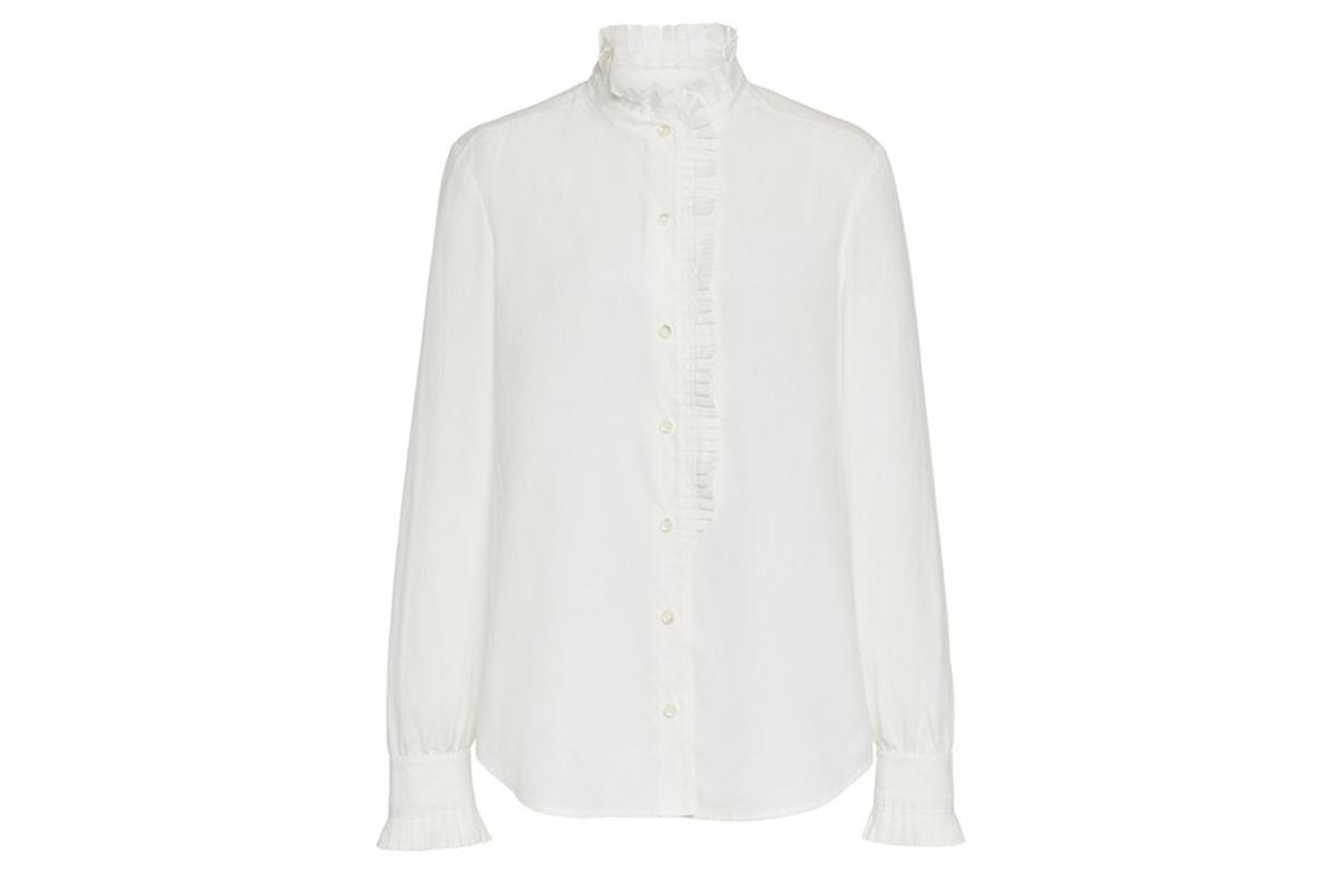 FRAME Pleated Cotton-Poplin Shirt