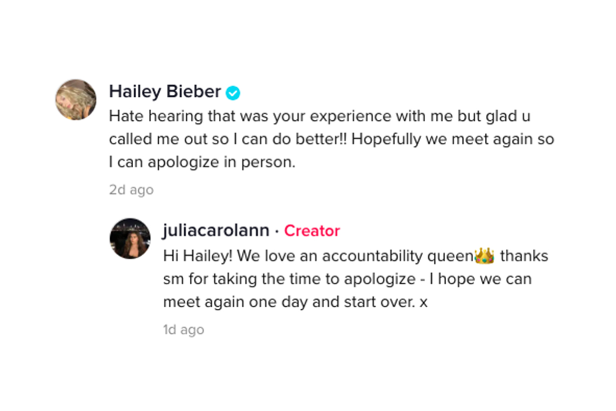 Hailey Bieber Gigi Hadid Bella Hadid Kylie Jenner Kendall Jenner Tiktok users @juliacarolann
