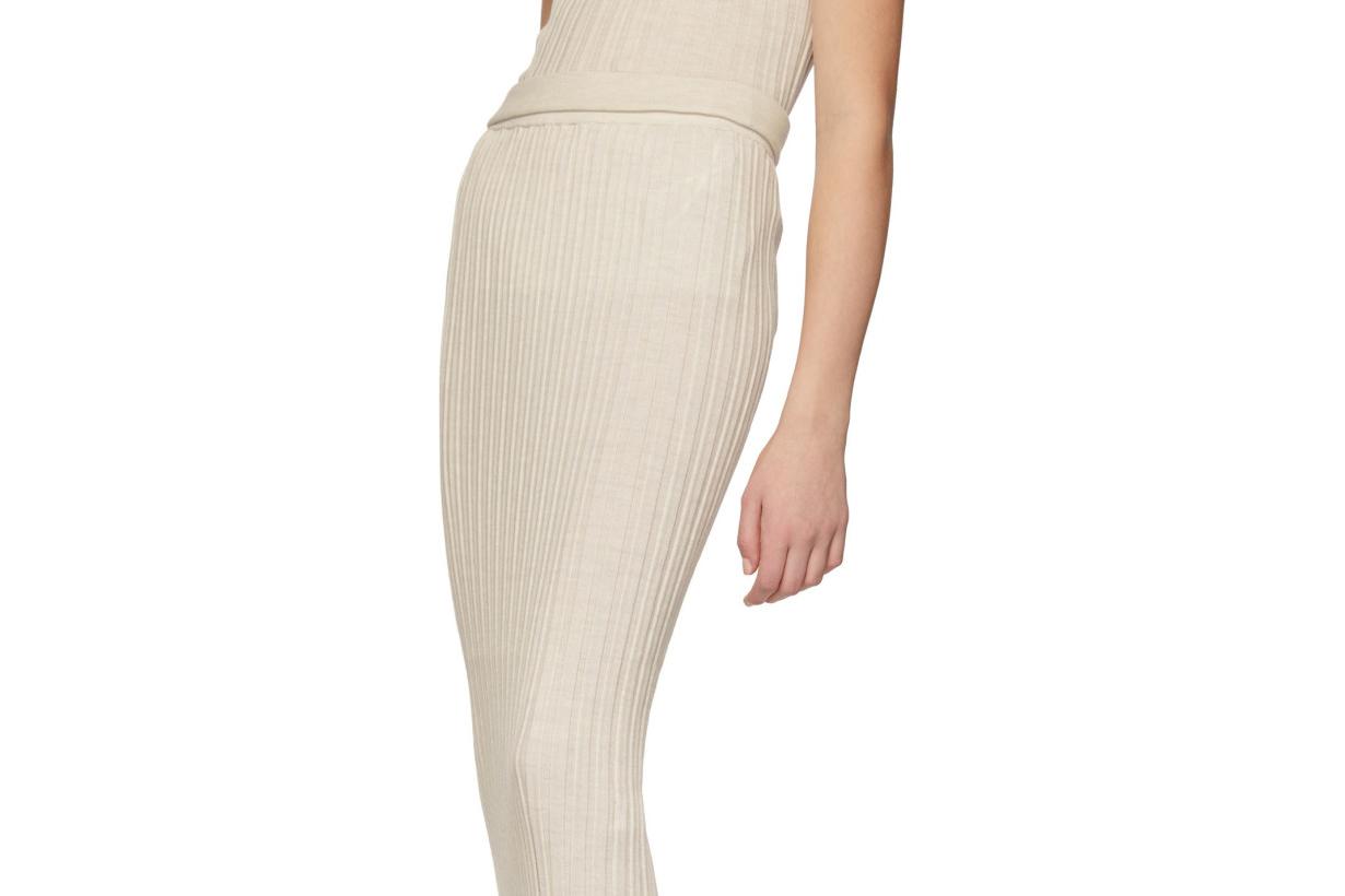 Helmut Lang Off-White Rib Skirt