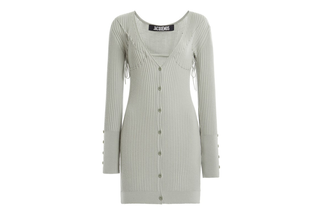 Jacquemus Lauris Tie-Detailed Ribbed Wool Mini Dress