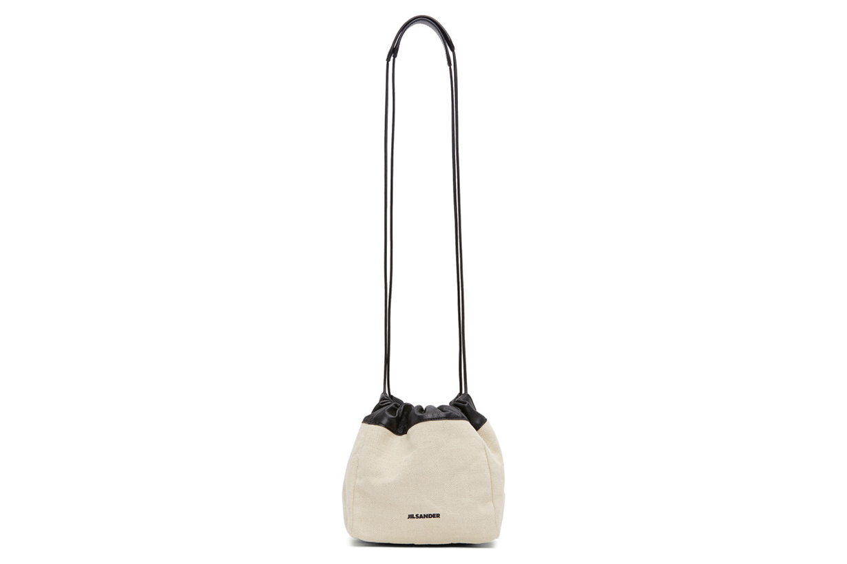Jil Sander Off-White Canvas Small Drawstring Crossbody
