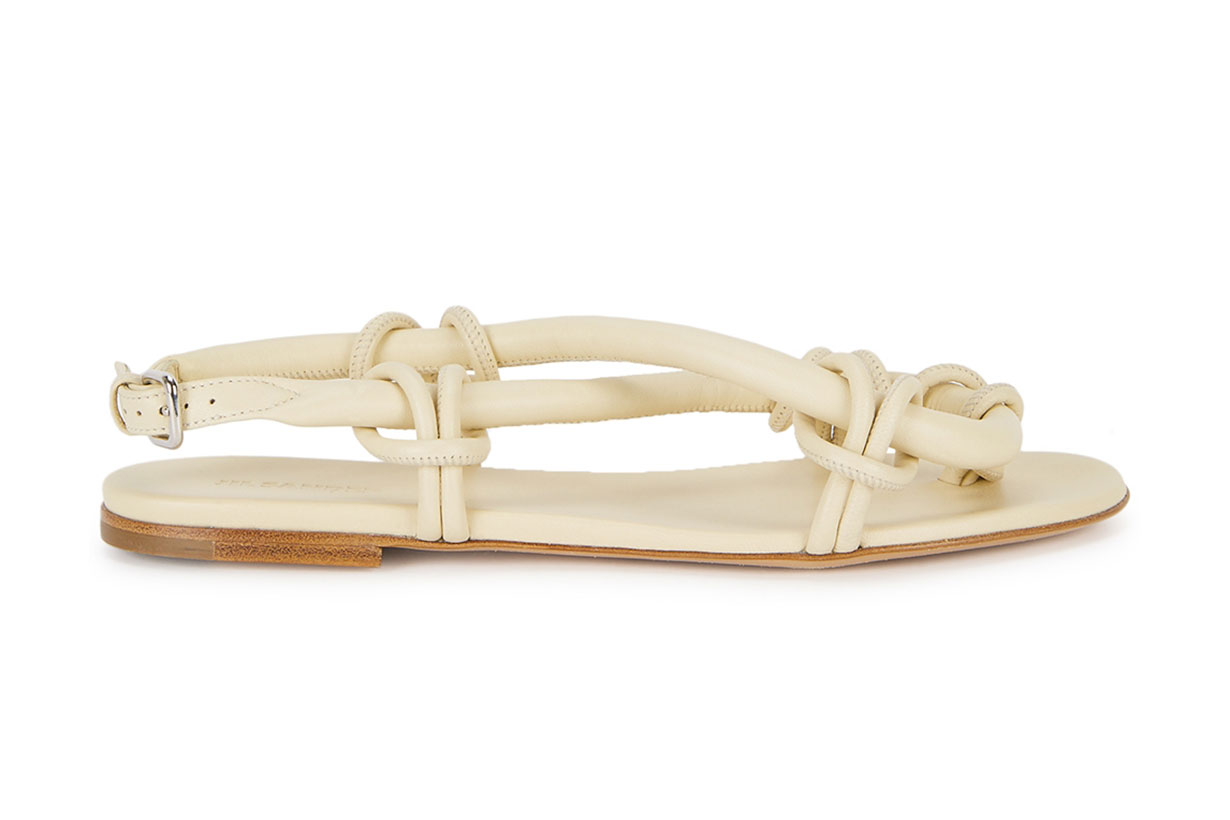 JIL SANDER Cream knotted leather sandals