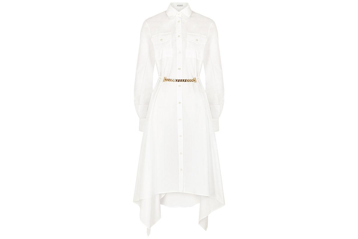 JW ANDERSON White draped cotton shirt dress
