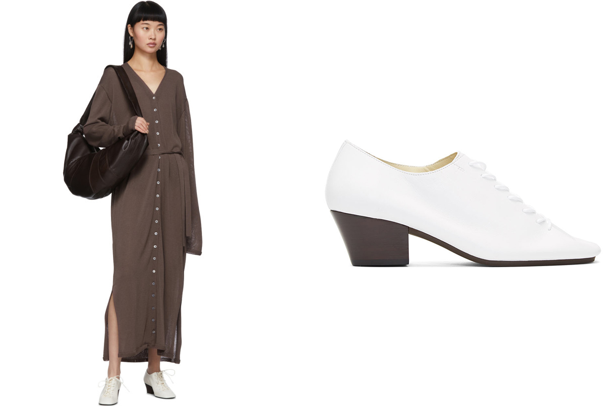 Lemaire White Heeled Derbys