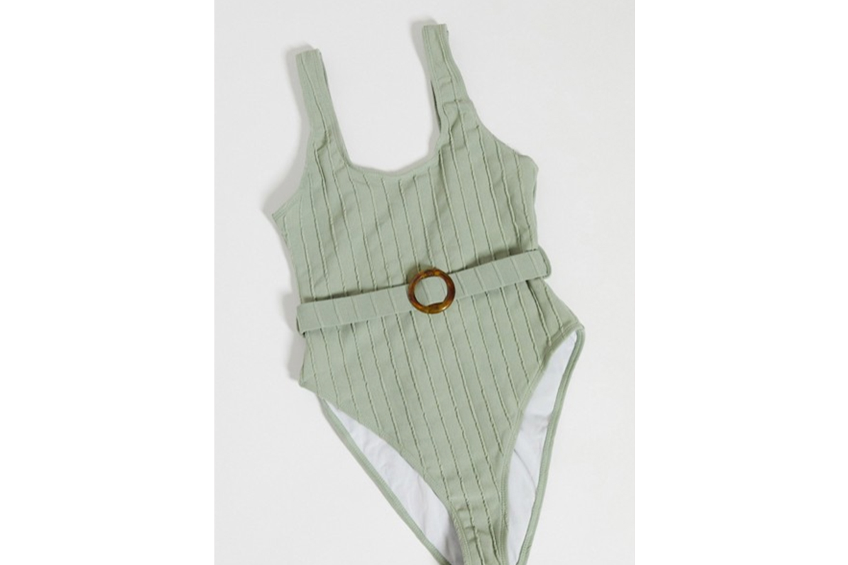 Missguided ribbed swimsuit with ring belt detail in khaki