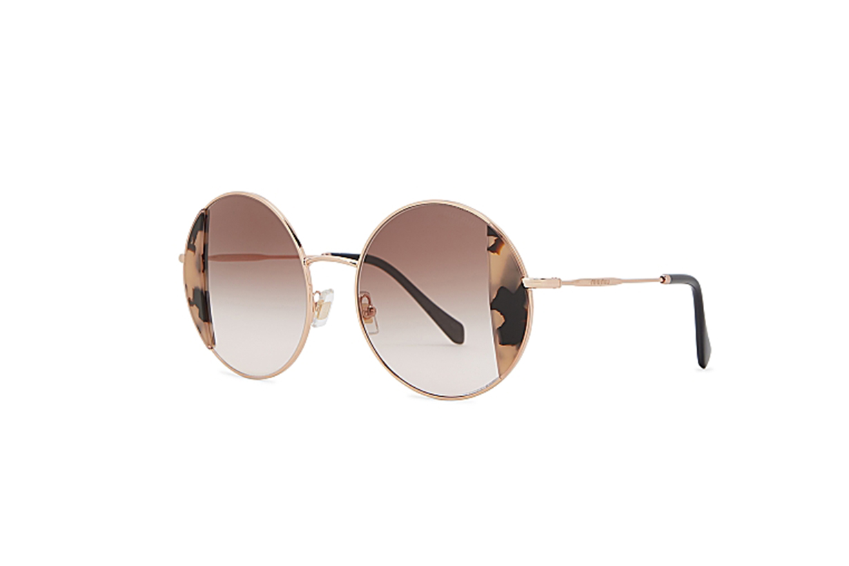 MIU MIU Noir gold-tone round-frame sunglasses