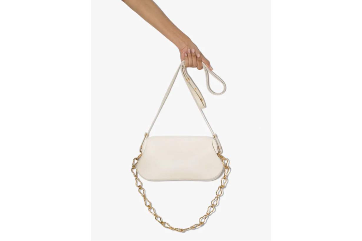 Osoi White Dutch Brot Wrinkled Leather Shoulder Bag