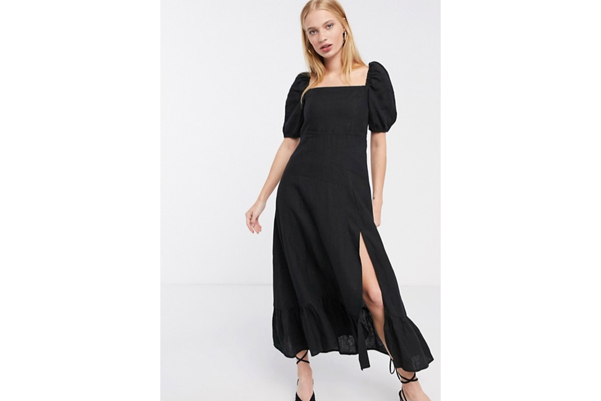 & Other Stories linen square neck midi dress in black
