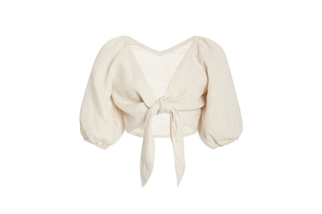 Posse Mia Knot-Detailed Linen Cropped Top