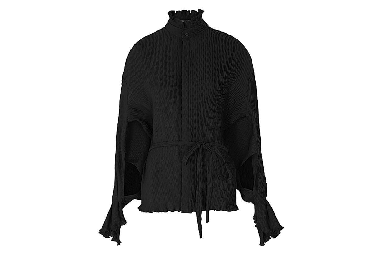 ROLAND MOURET Sparrow black plissé blouse