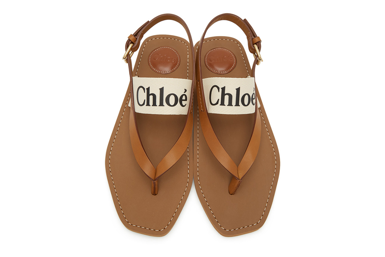 White & Tan Woody Flat Sandals