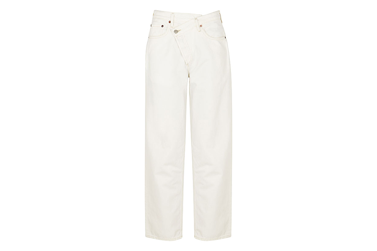 AGOLDE Criss Cross white straight-leg jeans