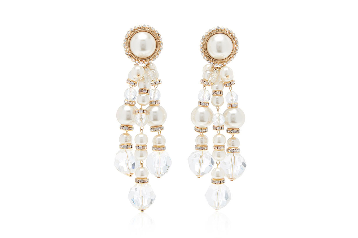 Alessandra Rich Gold-Tone, Faux Pearl And Crystal Clip Earrings