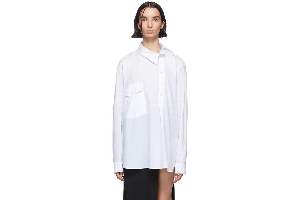 Ann Demeulemeester White Misplaced Button Down Shirt