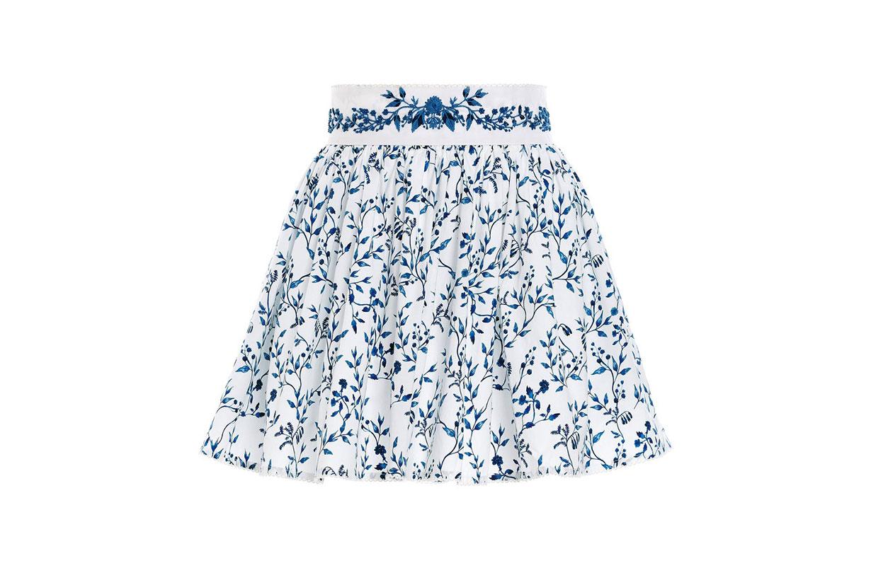 Arandano Acacias-Print Cotton Poplin Hand Embroidered Detail Mini Skirt