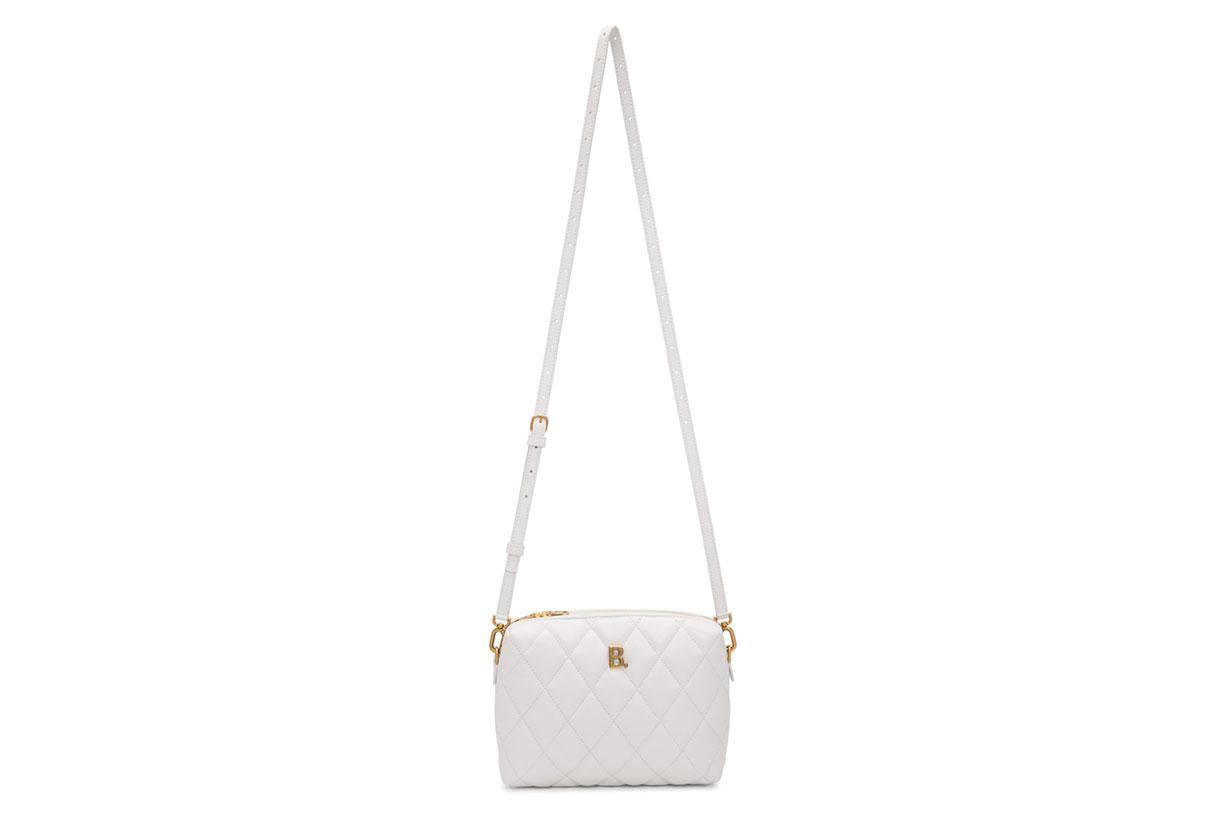 Balenciaga White Quilted B. Camera Bag