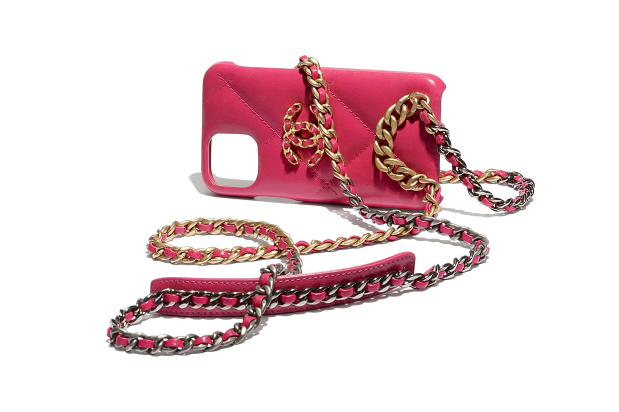 case for iphone xi pro with chain Shiny Goatskin, Gold-Tone, Silver-Tone & Ruthenium-Finish Metal Pink