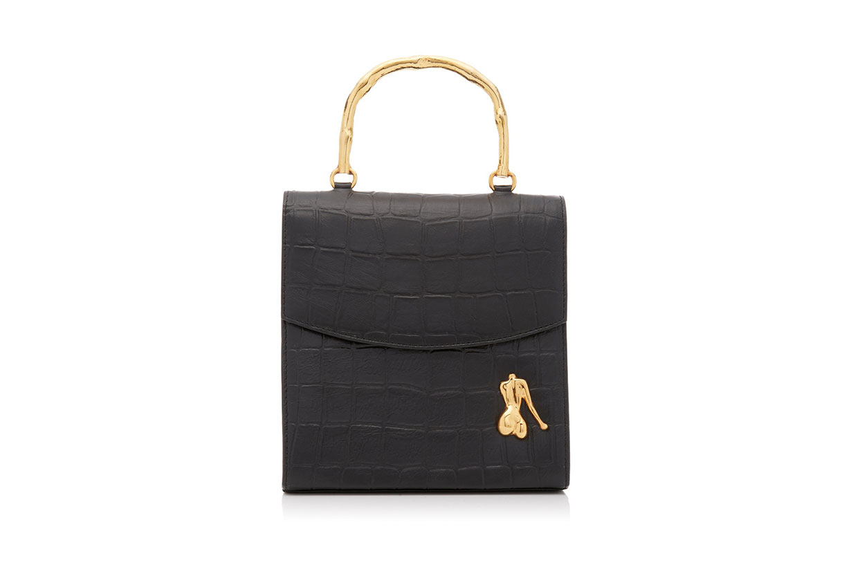 Claude Croc-Effect Leather Top Handle Bag