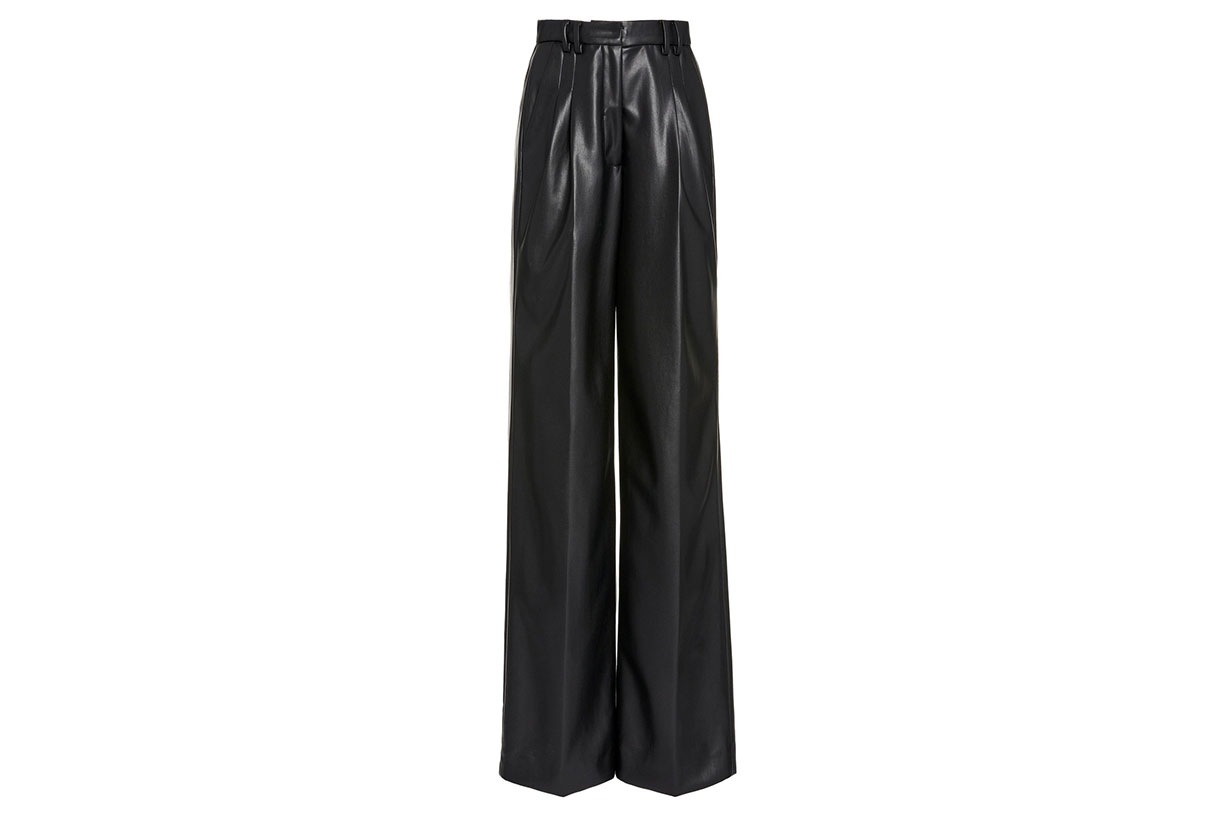 Delaney Vegan-Leather Wide-Leg Pants