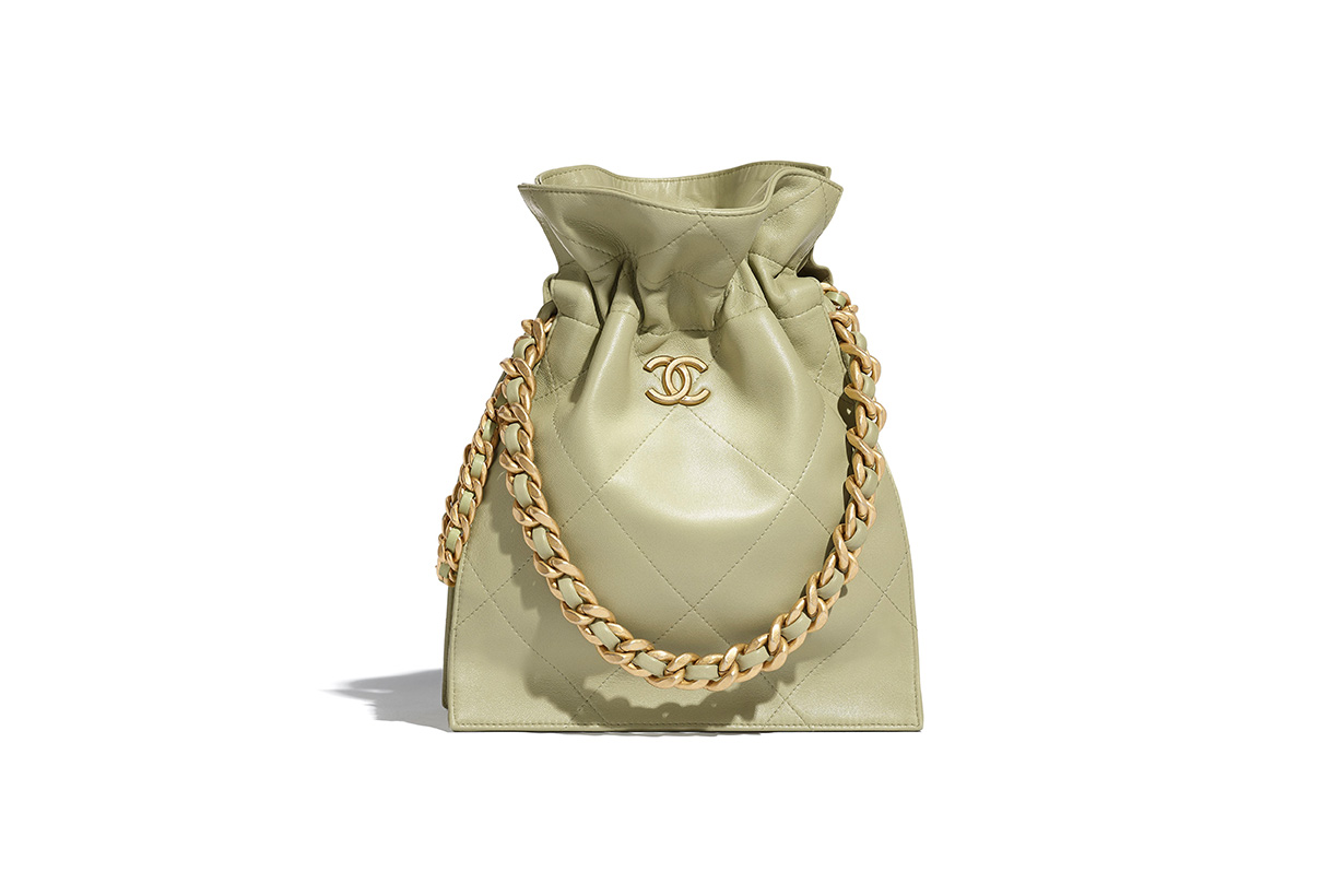 Chanel 2020 fall winter handbags drawstring bag collection