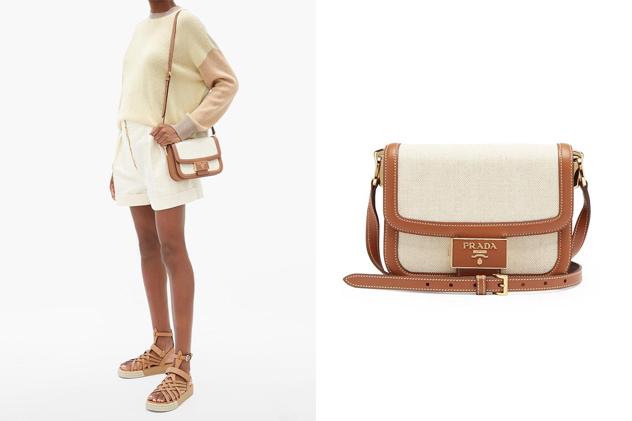 Emblème canvas and leather cross-body bag