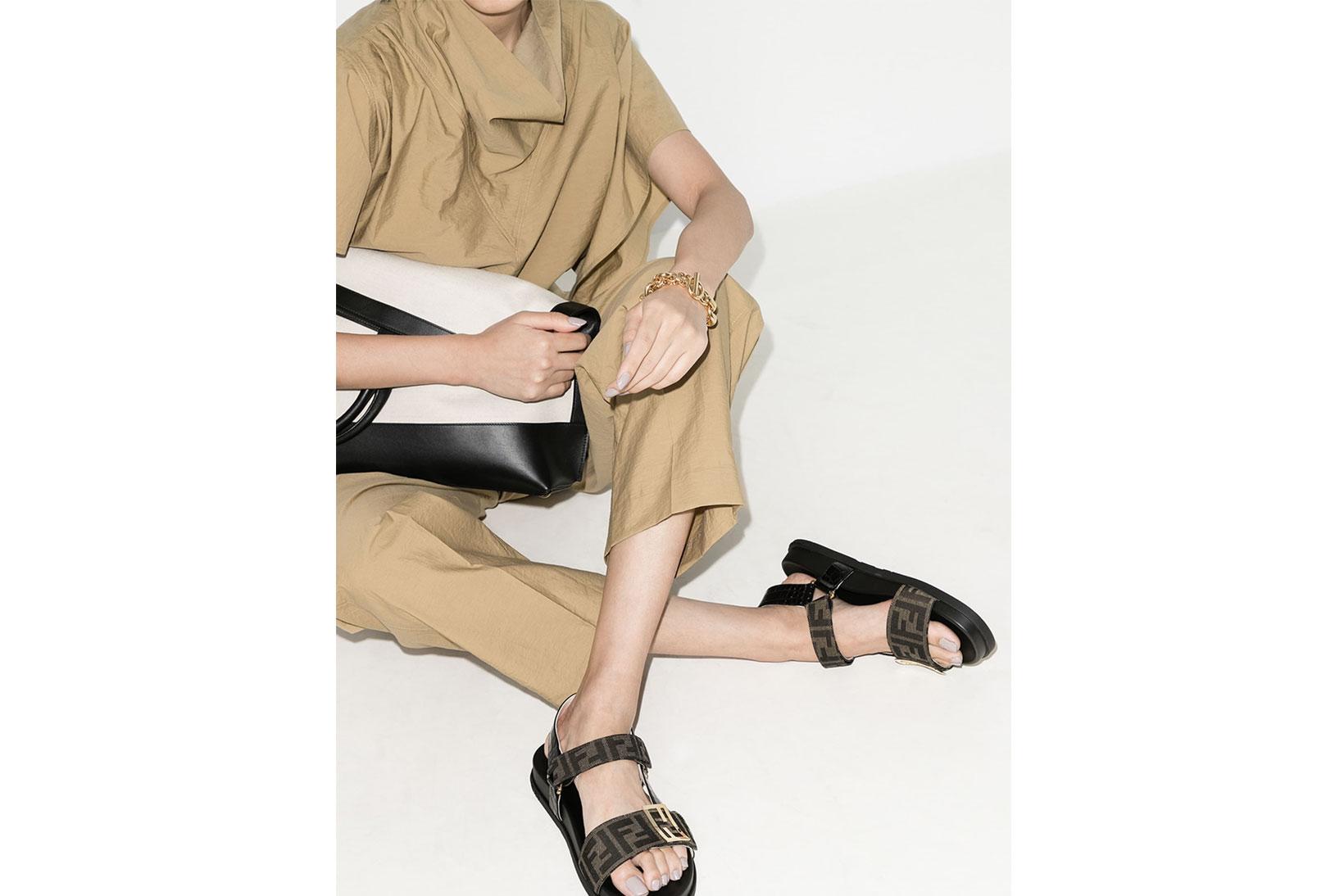 fendi brown trek logo zucca canvas leather sandals luxury summer shoes