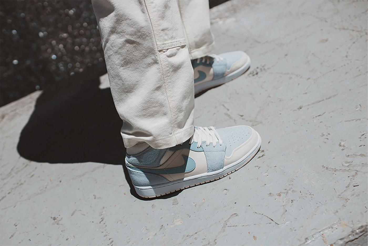 nike air Jordan 1 mid se sneakers pastel blue yellow white grey colorway raffle release info