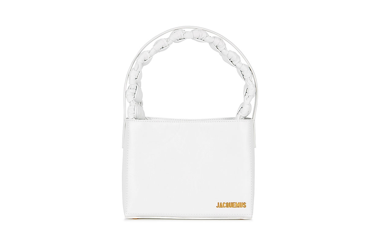 JACQUEMUS  Le Sac Noeud white leather top handle bag