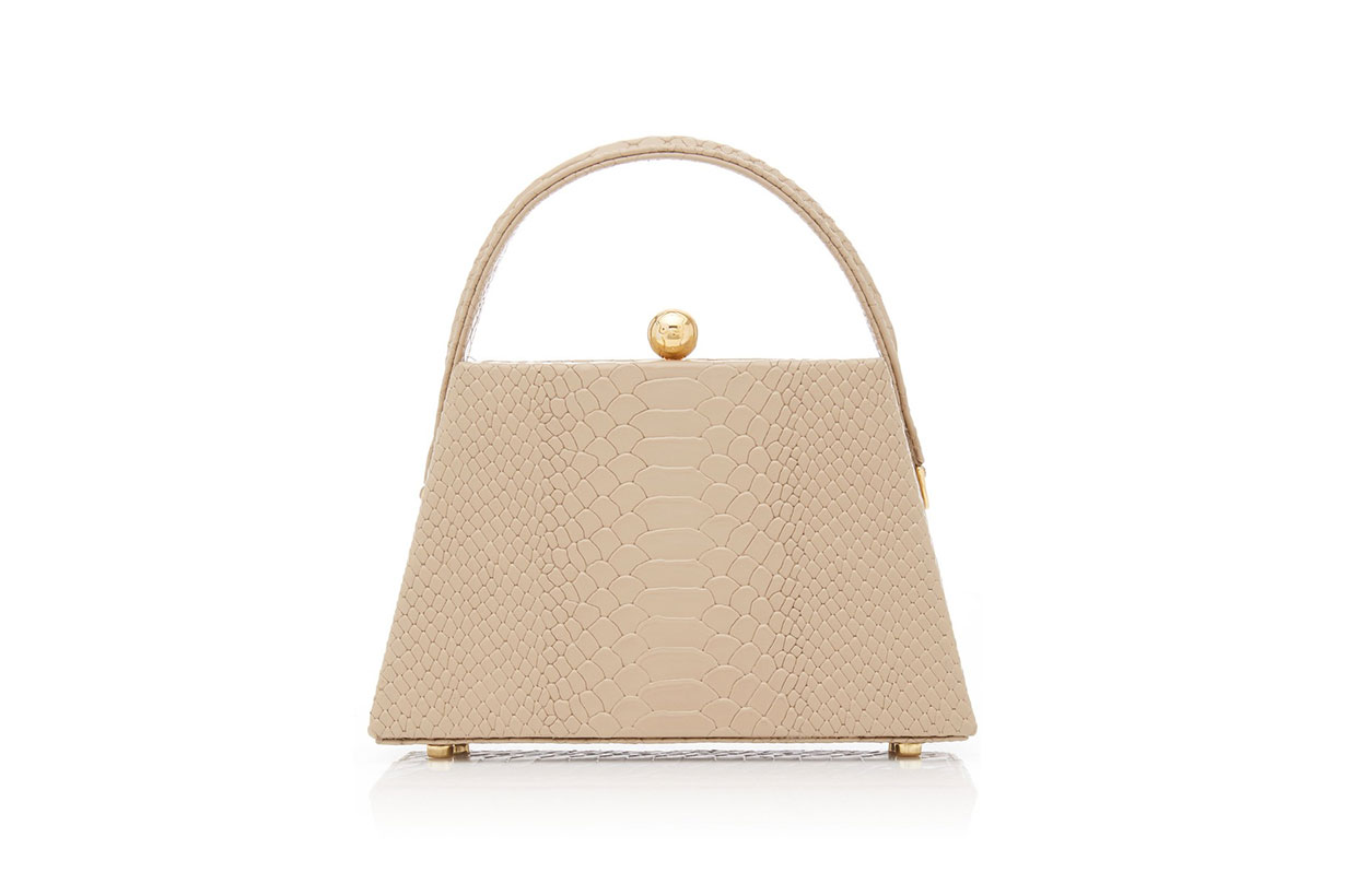 La Femme Croc-Effect Leather Top Handle Bag