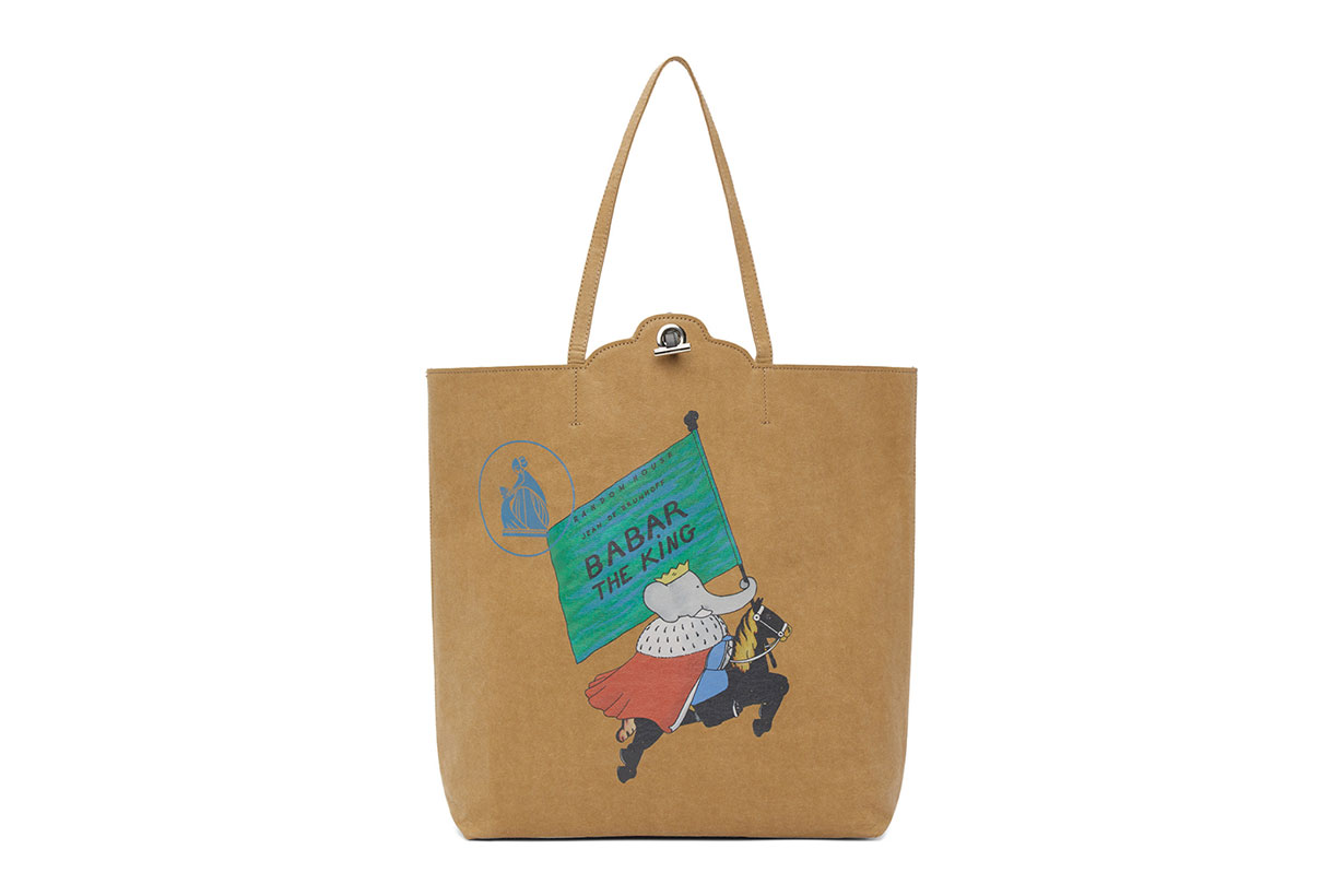 Lanvin Brown Babar Edition 'The King' Kraft Cabas Tote