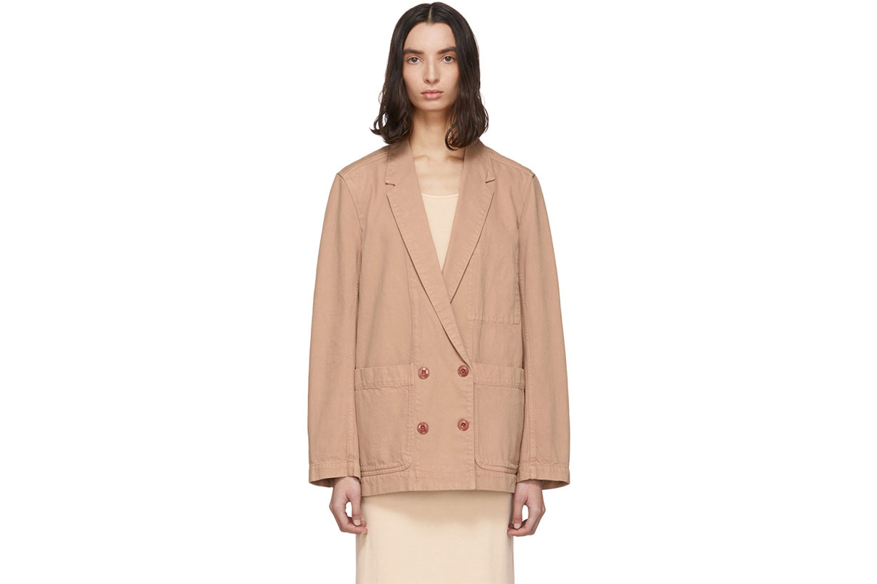 Lemaire SSENSE Exclusive Pink Denim Double-Breasted Jacket