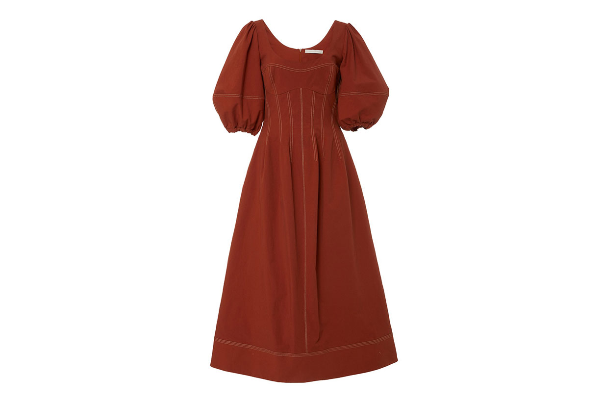Lena Puff Sleeve Stretch-Cotton Midi Dress