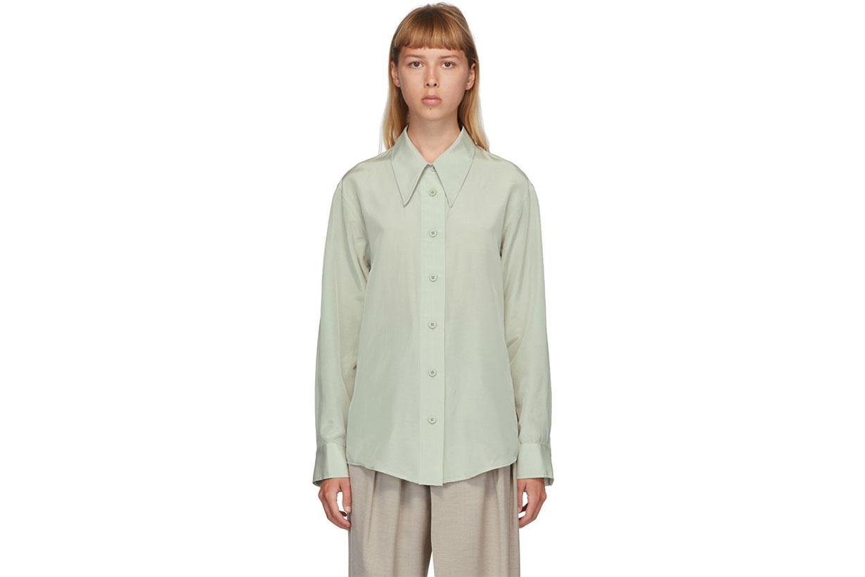 LOW CLASSIC Green Silk Shirt