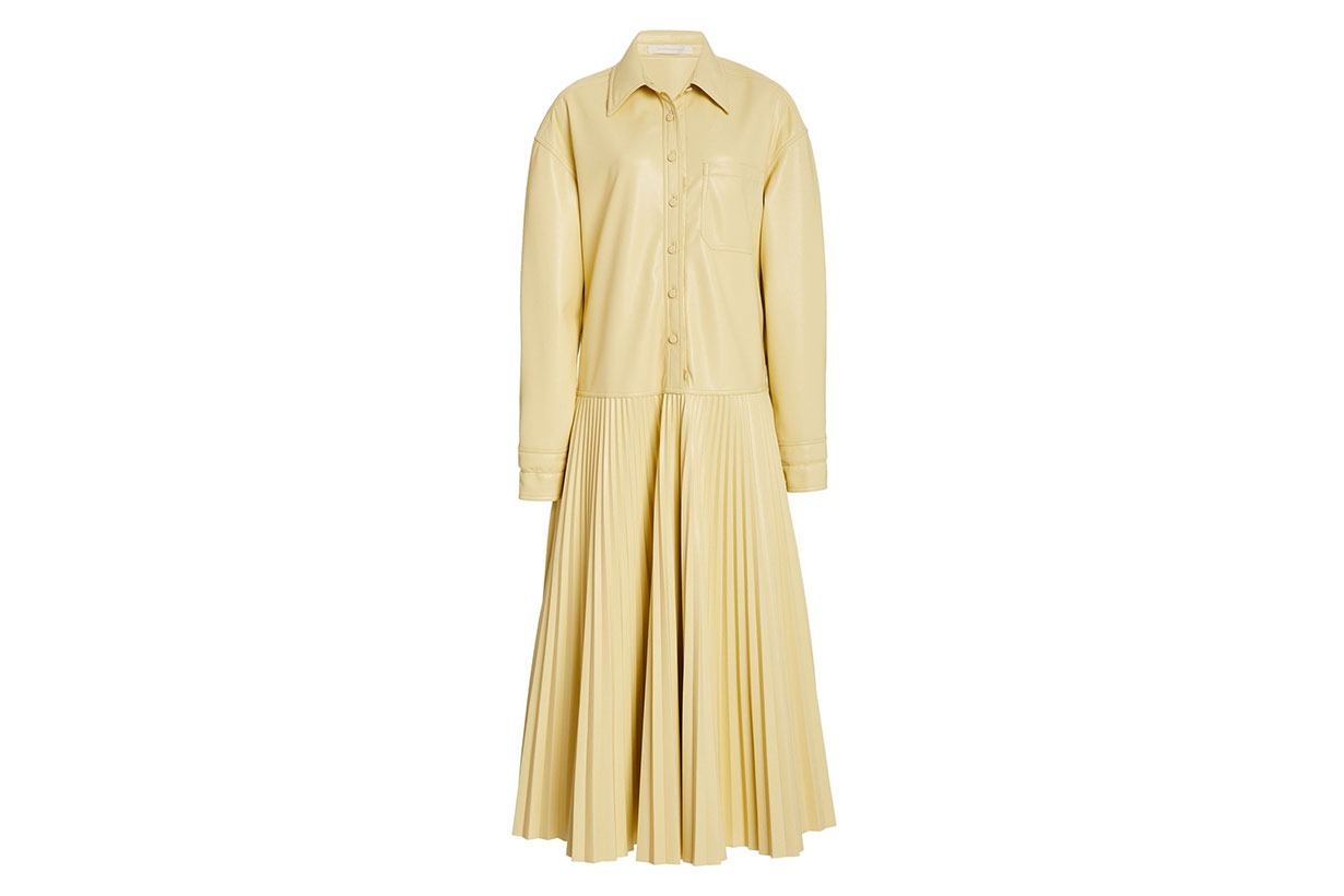 Makayla Vegan-Leather Shirt Dress