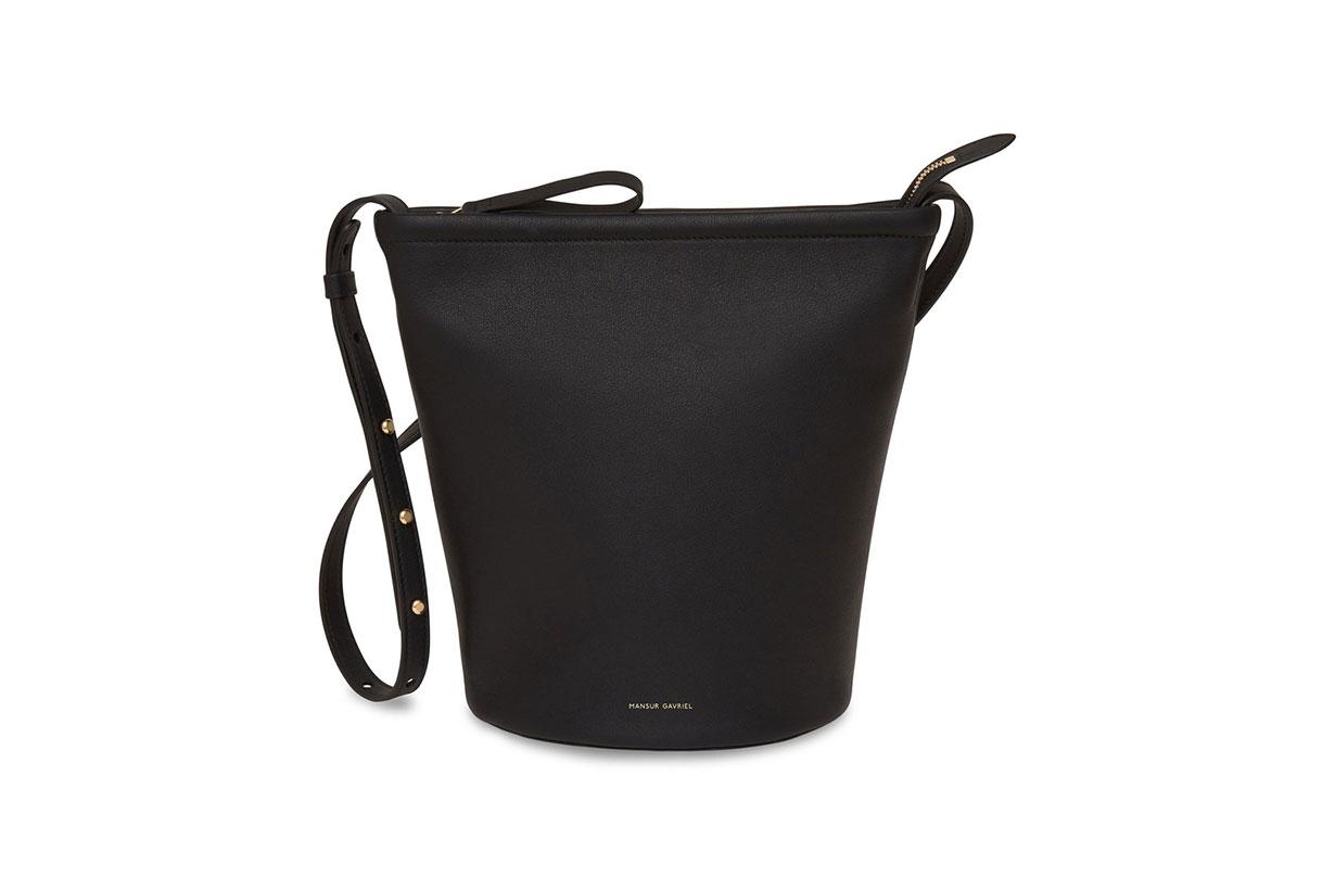 Mansur Gavriel Zip-Up Leather And Canvas Bucket Bag