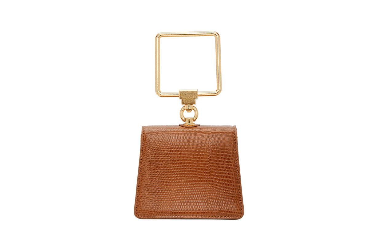 Marge Sherwood Brown Lizard Mini Pump Handle Bag