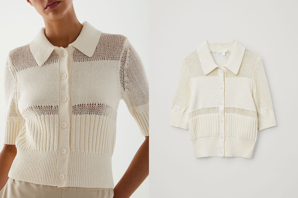 ORGANIC COTTON MESH PANEL KNITTED TOP