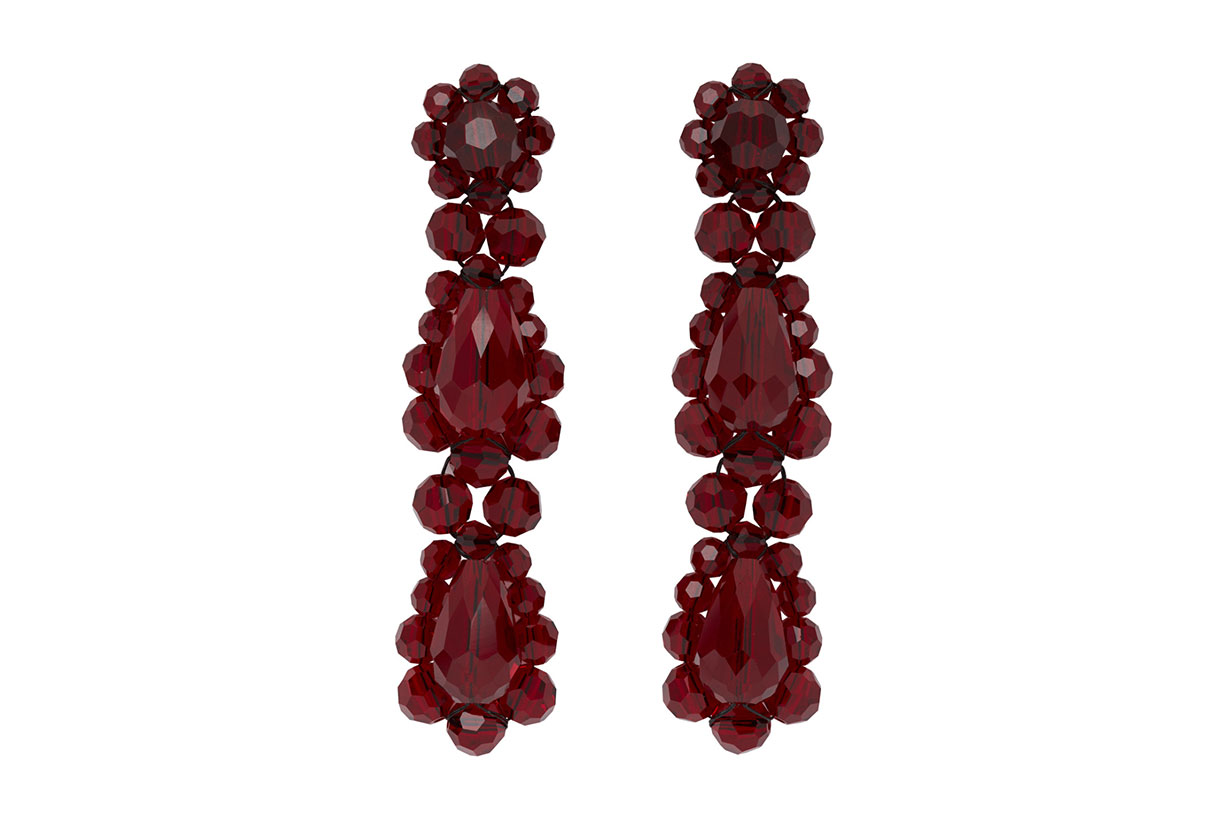 Red Short Drop Earrings