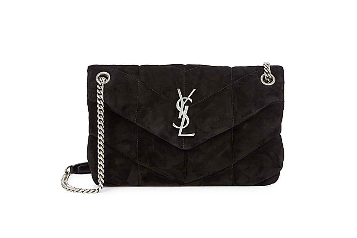 SAINT LAURENT  Loulou Puffer small black suede shoulder bag