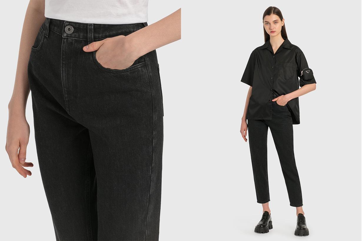 prada women denim jeans black metal triangle logo pocket price