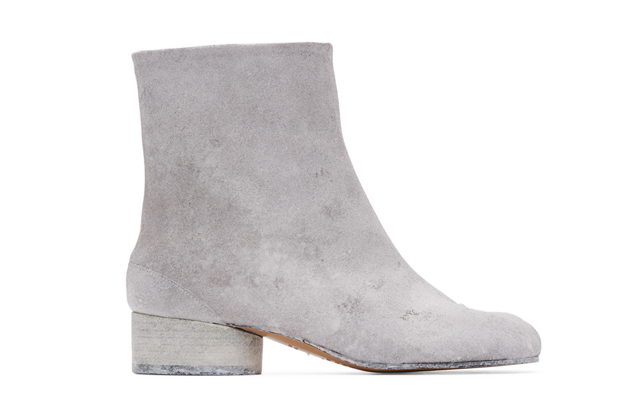 SSENSE Exclusive White Painted Tabi Low Heel Boots
