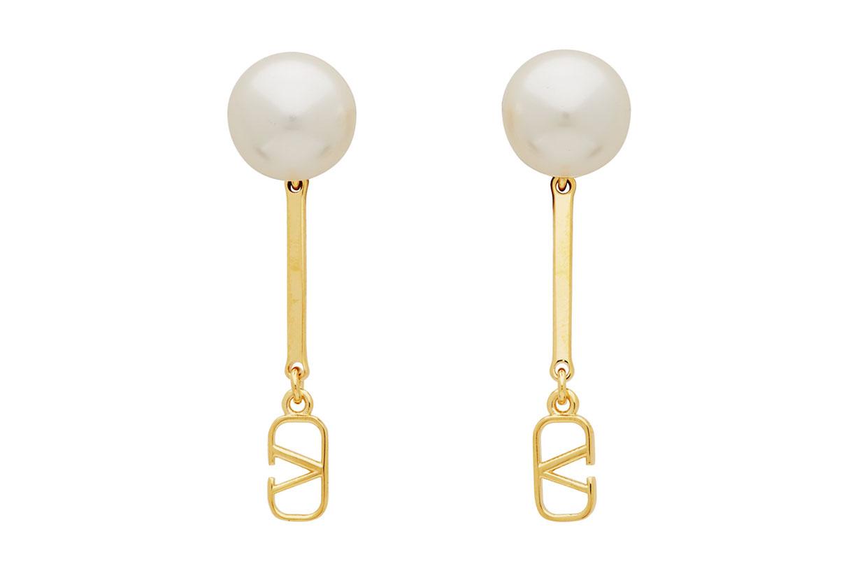 Valentino Gold Valentino Garavani Pearl VLogo Drop Earrings