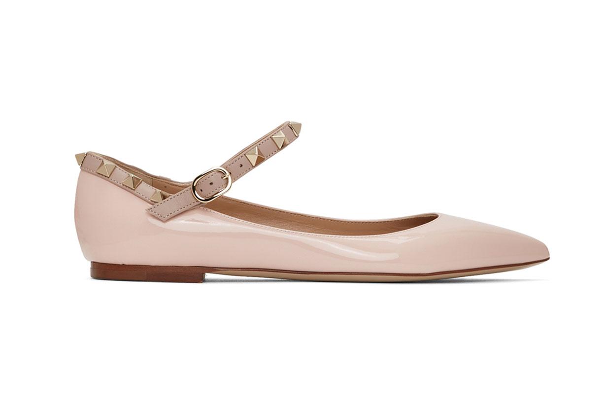 Valentino Pink Valentino Garavani Patent Ankle Strap Rockstud Ballerina Flats