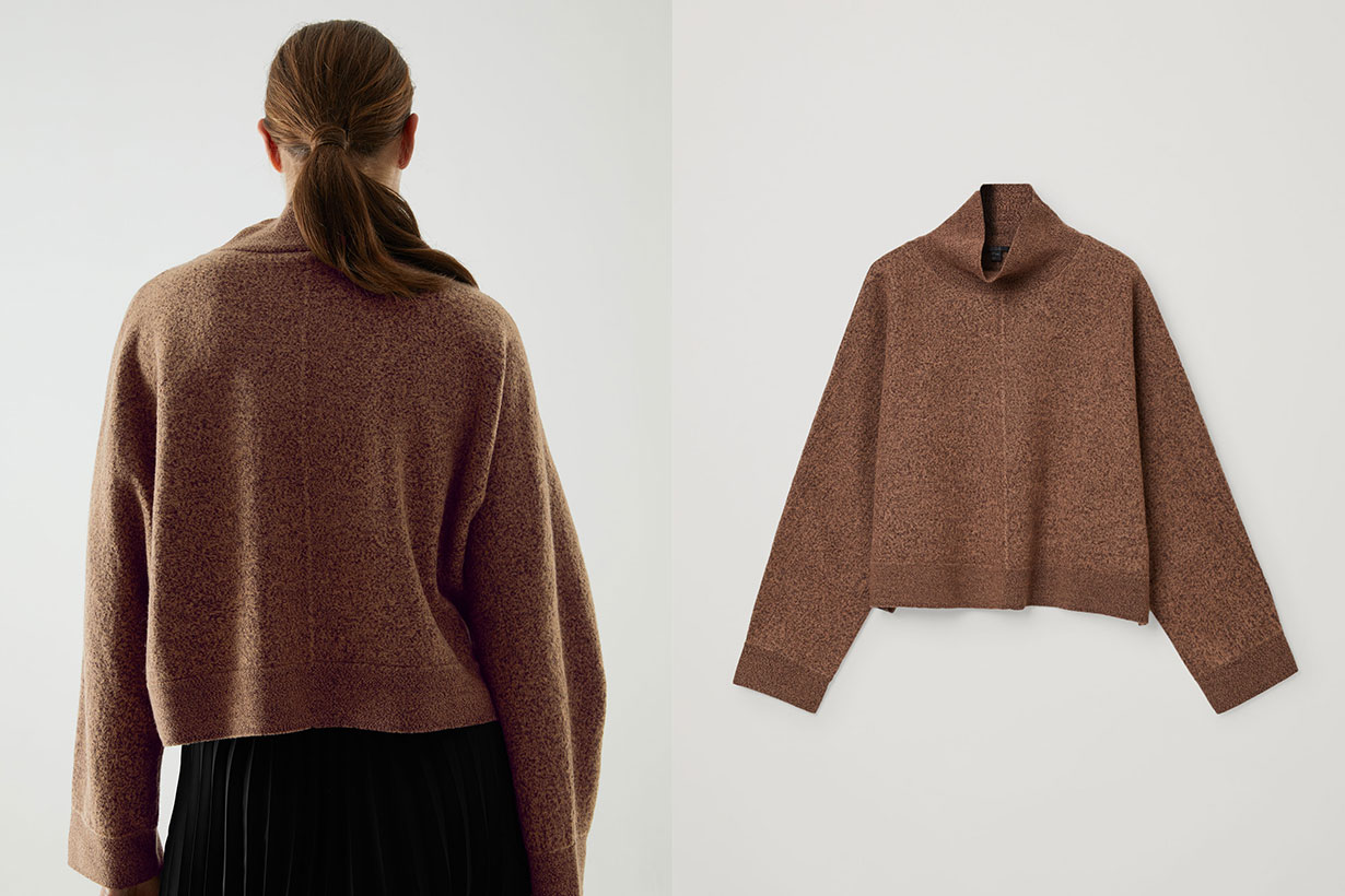 WOOL CROPPED ROLL-NECK JUMPER
