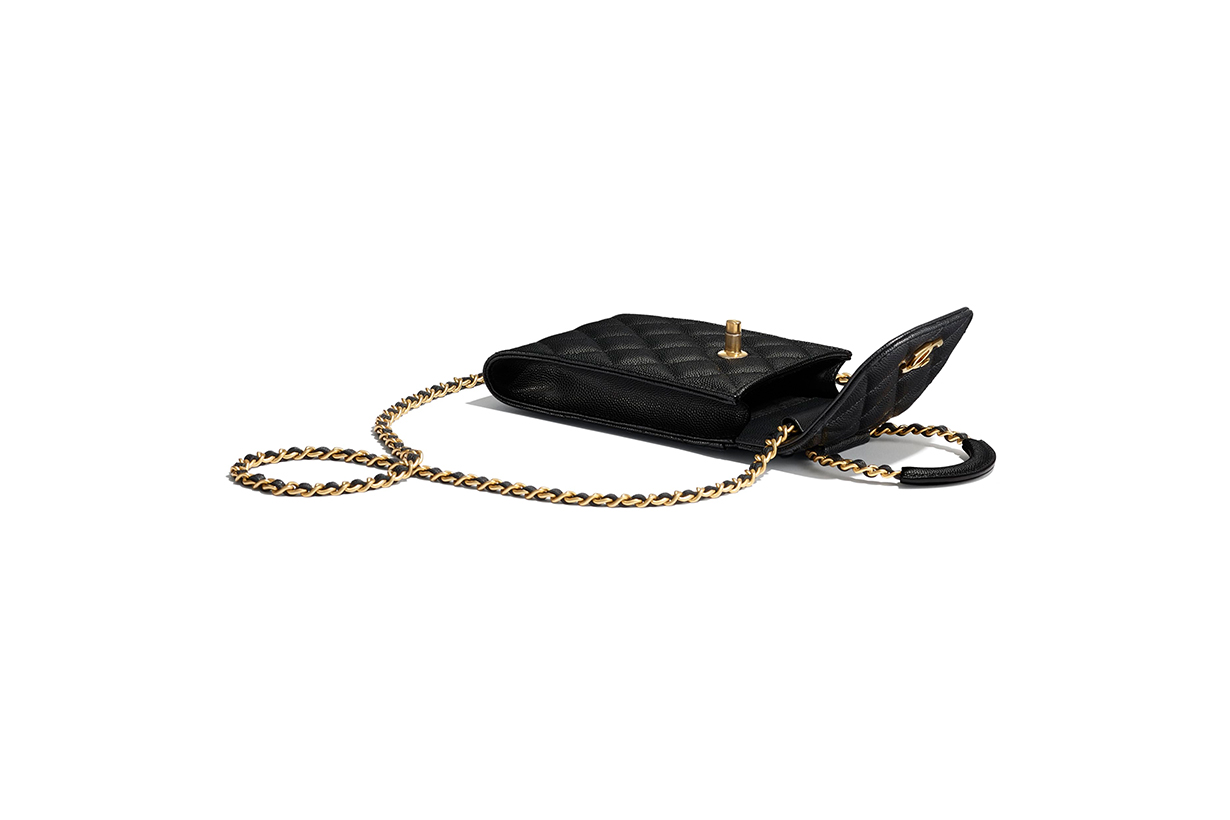 Chanel phone holder with chain grained shiny calfskin gold tone metal bags