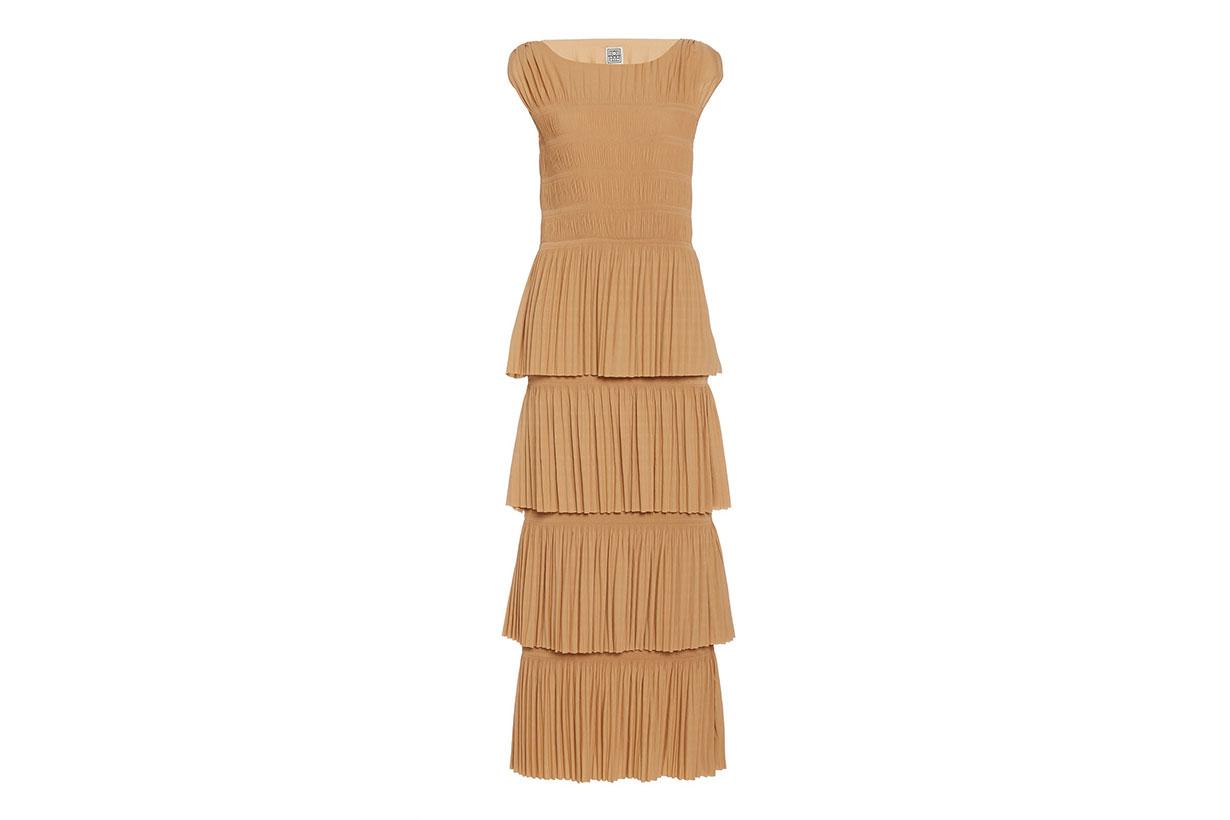 Aramon Tiered Pleated Crepe Maxi Dress