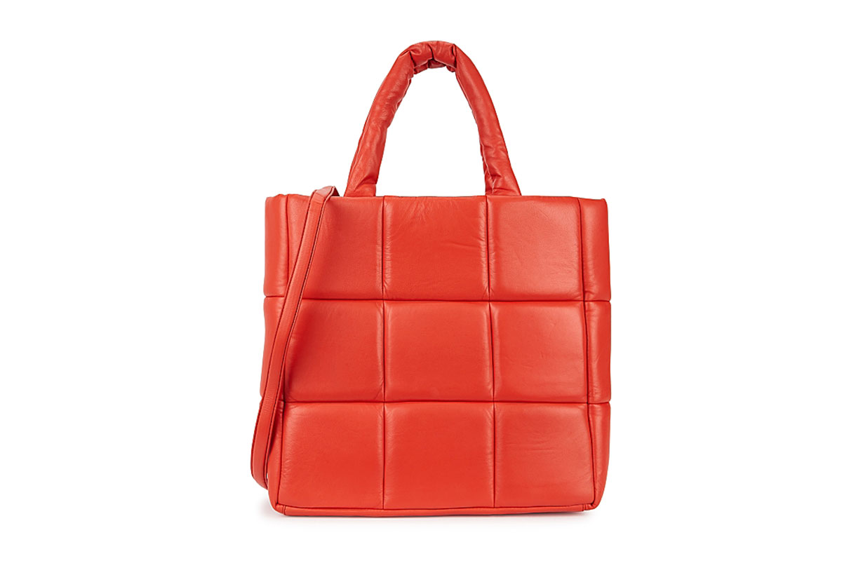 Assante red padded leather tote