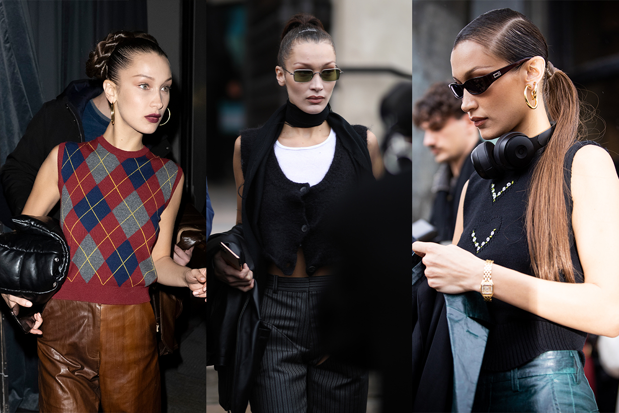 Bella Hadid Knitted Vest V neck sweater celebrities style street style fall winter 2020 fashion trends