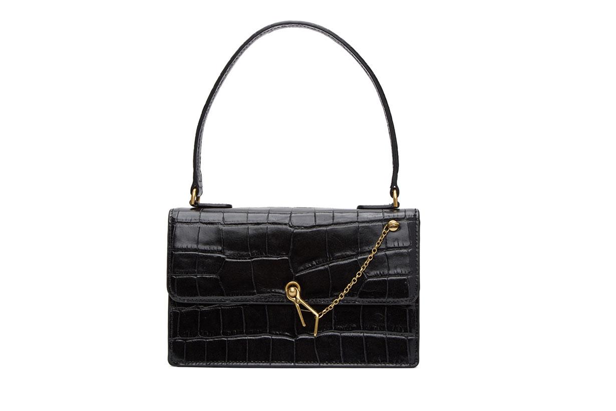 Black Croc Jackie Bag